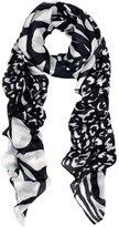 TrendsBlue Elegant Leopard & Zebra Mixed Animal Print Scarf