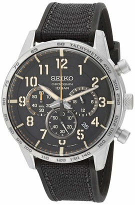 Seiko Men's Chronograph/Essentials Stainless Steel Japanese Quartz With Silicone Strap Black (Model: SSB367)