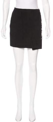 Anthony Vaccarello Suede Embellished Skirt w/ Tags