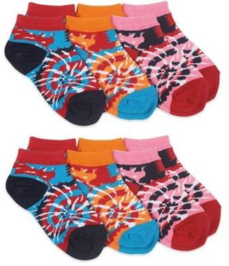 Jefferies Socks Girls Socks, 6 Pack Tie Dye Fashion Pattern Low Cut Sizes XS and S