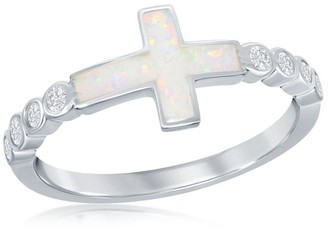 La Preciosa Sterling Silver/Rose Gold Plated Created White Opal Sideways Cross Half CZ Band Ring