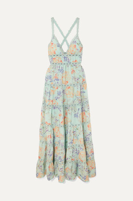 Alice + Olivia Alice Olivia - Karolina Crochet-trimmed Floral-print Chiffon Maxi Dress - Light blue