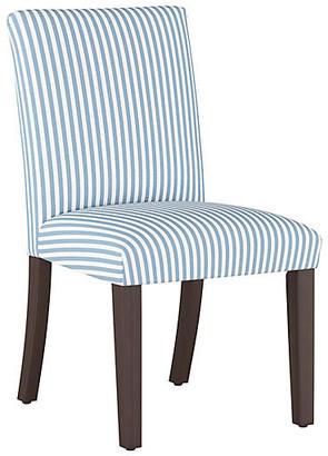 One Kings Lane Shannon Side Chair - Blue Stripe Linen