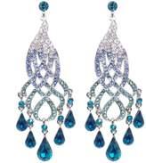 Ever Faith Curve Floral Teardrop Austrian Crystal Dangle Earrings N00683-1