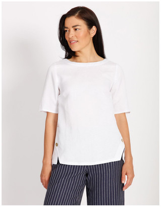 Regatta Short Sleeve Button Side Linen Blend Top