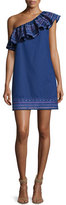 Parker Katrina One-Shoulder Embroidered Dress, Blue