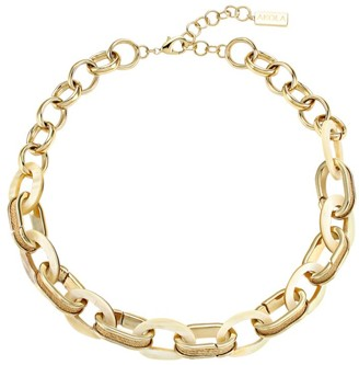 Akola Horn & Raffia Golden Link Chain Necklace
