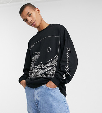 Reclaimed Vintage inspired long sleeve t-shirt in black with wave art print