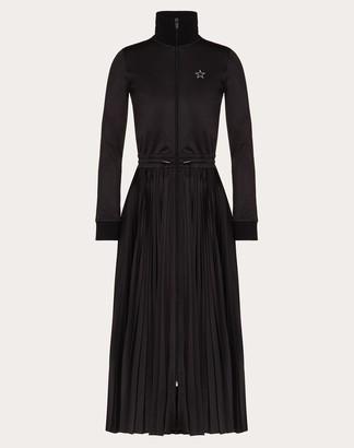 Valentino Vltnstar Jersey Dress Women Black/white Polyester 100% M