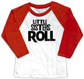 Micro Me White & Red 'Little Sisters Roll' Raglan Tee - Toddler & Girls