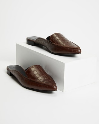 Atmos & Here Atmos&Here - Women's Brown Brogues & Loafers - Carissa Leather Mules - Size 6 at The Iconic