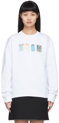 MSGM White Iridescent Sweatshirt