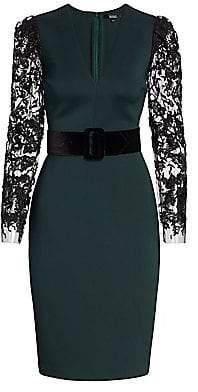 Badgley Mischka Women's Lace-Sleeve Scuba Dress