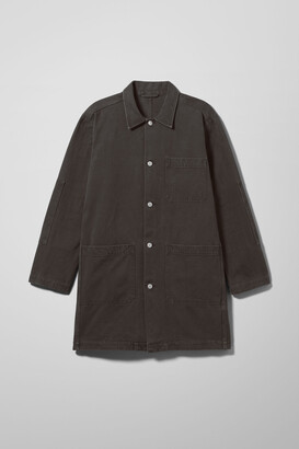 Weekday Lab Washed Black Denim Coat - Black