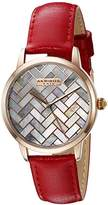 Akribos XXIV Women's Rose Gold-Tone Mother-of-Pearl Mosaic Dial with Red Glove Style Genuine Leather Strap Watch AK906RD