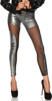 5Sheepgs See-through Spliced Punk Rock Metallic Tight Pants Leggings