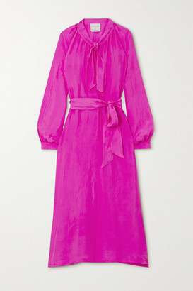 Forte Forte Tie-neck Belted Silk-habotai Midi Dress - Magenta