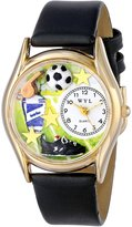 Whimsical Watches Kids' C0820020 Classic Gold Soccer Black Leather And Goldtone Watch
