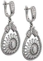 Nina Silver-Tone Cubic Zirconia Mandala Teardrop Earrings
