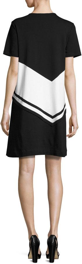 Joan Vass Colorblock Short-Sleeve Dress, Petite