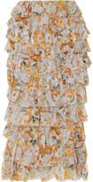 Zimmermann Tiered Printed Silk-georgette Midi Skirt