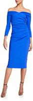 Chiara Boni Suzie Off-the-Shoulder Long-Sleeve Shirred Dress