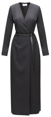 The Row Vana Belted Cady Wrap Dress - Black