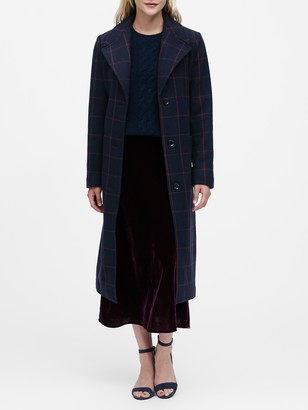 Banana Republic Petite Plaid Italian Melton Long Coat