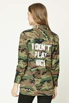 Forever 21 FOREVER 21+ I Dont Play Nice Camo Jacket