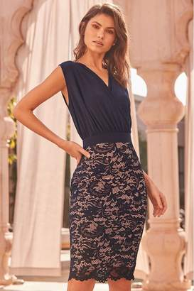 Lipsy Lace Skirt 2 In 1 Bodycon Dress - 6 - Blue