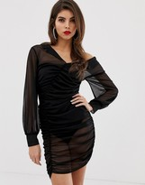 Asos Design DESIGN ruched sheer shirt mini dress