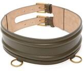 Alexander McQueen Ring-embellished Leather Belt - Womens - Khaki