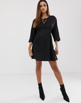 Asos Design DESIGN mini dress in linen with lace up