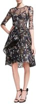 Monique Lhuillier Floral-Embroidered Illusion Fit & Flare Dress