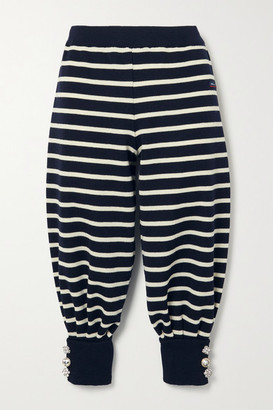 Marc Jacobs Armor-lux Cropped Embellished Striped Wool Track Pants - Midnight blue