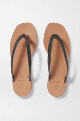 Brunello Cucinelli Beaded Leather Flip Flops - Tan
