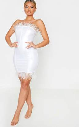 PrettyLittleThing White Vinyl Feather Trim Bandeau Bodycon Dress