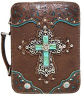 GMH Western Style Embroidered Scripture Bible Verse Cover Books Case Cross Extra Strap Messenger Bag