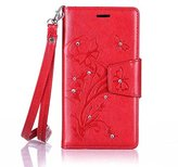 BTJP Book Style Folio Protective Case,Stand Wallet Premium PU Leather Bling Diamond Magnetic Emboss Flower Hand Wrist Strap TPU Bumper Skin Cover for 5.0 inch& Stylus Pen