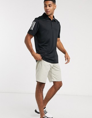 adidas three stripe polo in black