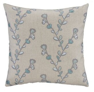 Hanson August Grove Aqua & Gray Twig Embroidery Linen Square Pillow Cover August Grove