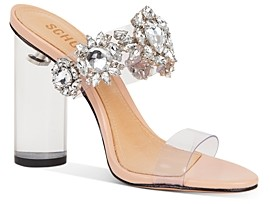 Schutz Women's Blanck Crystal Embellished Clear Block Heel Sandals