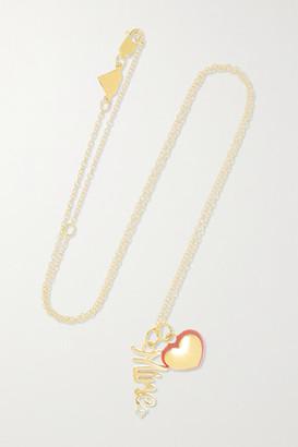 Alison Lou Mine 14-karat Gold, Enamel And Diamond Necklace - one size