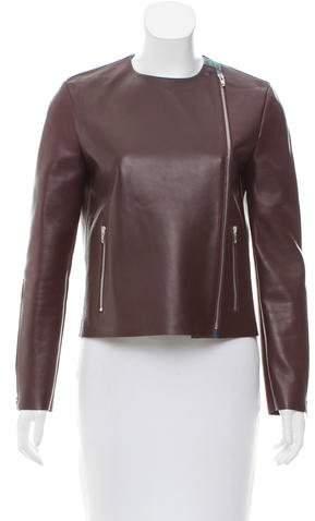 Celine Python-Trimmed Leather Jacket