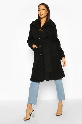boohoo Longline Teddy Belted Coat