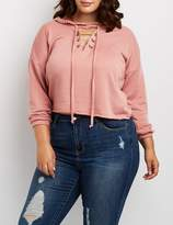 Charlotte Russe Plus Size Cut-Out Hooded Sweatshirt