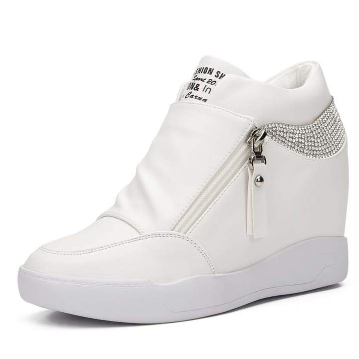 3960d4a2dd75c LIURUIJIA Women Hidden Wedges Ankle Boots Fashion Sneaker High Top Flats  Platform Casual white39