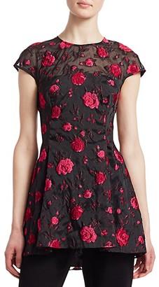 Lela Rose Cap Sleeve Rose Peplum Top