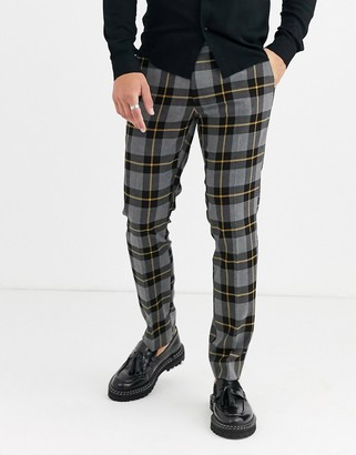 Moss Bros smart pants in gray plaid