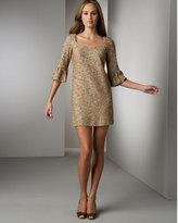 Lantern-Sleeve Boucle Dress